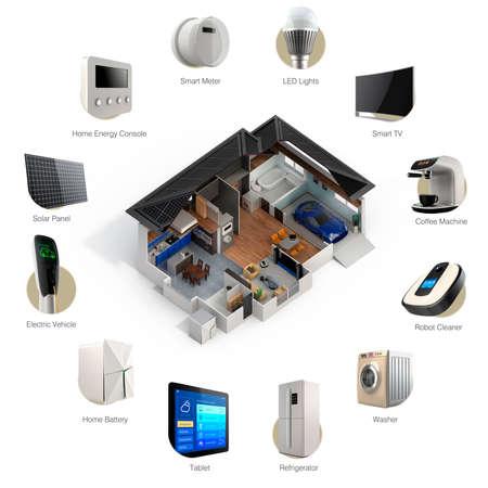 Infografía 3D de tecnología de domótica inteligente. Imagen en miniatura de electrodomésticos inteligentes y texto disponible.