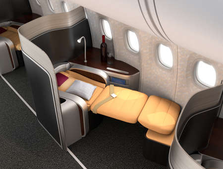 航空機: 金属の銀のパーティションを持つ豪華なビジネス クラスの座席のクローズ アップ。オリジナル デザインの 3 D レンダリング画像。