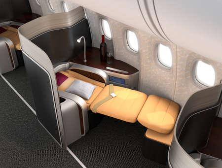 Close-up de lujo asiento de clase business con partición plata metálica. Imagen 3D en el diseño original.