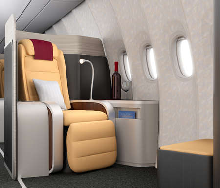 footrest: Close-up of luxurious business class seat with metallic silver partition. 3D rendering image in original design. Stock Photo