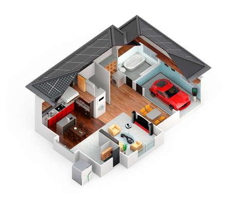 スマートハウスの断面図ビュー。この家はホーム バッテリ システム、省エネ家電と電気自動車と供給。