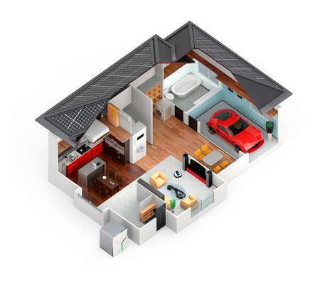 Cutaway view of smart house. This house supply with home battery system, energy saving appliance, and electric car.