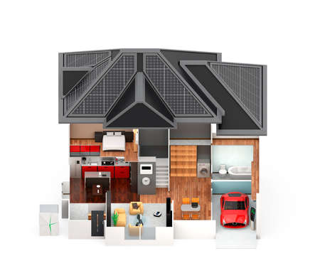 internet security: Front view of smart house. This house supply with home battery system, energy saving appliance, and electric car. Stock Photo
