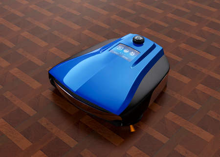 hardwood flooring: Wireless robotic vacuum cleaner on hardwood flooring. Original design.