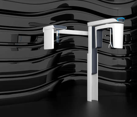 x ray equipment: Stylish dental CBCT  on black curved background