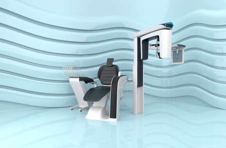 x ray equipment: Dental chair and dental 3D CT on light blue background.