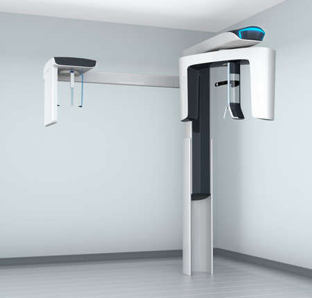 x ray machine: Dental CT scanner in clinic interior with cephalometric equipment.