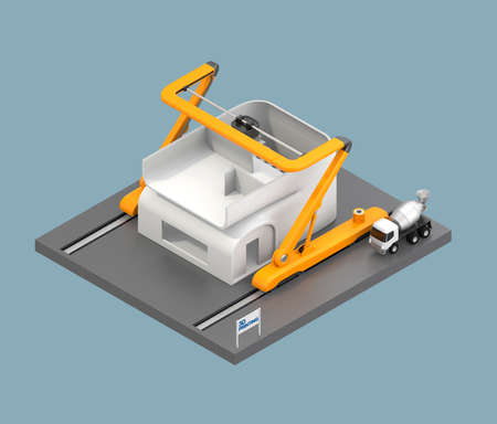 Industrial 3D printer printing house on light blue background. Clipping path available.