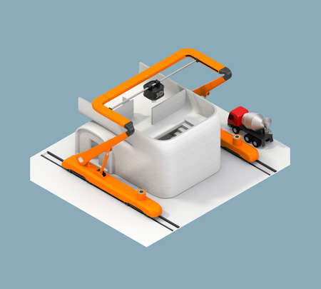 Rear view of industrial 3D printer printing house. Clipping path available.