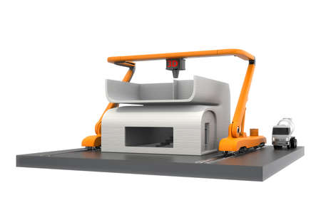 rapid prototyping: Industrial 3D printer printing house isolated on white background. Clipping path available.