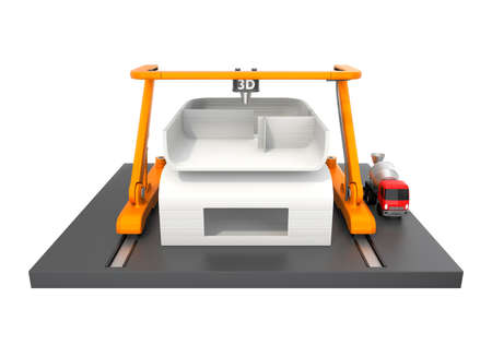 Front view of industrial 3D printer printing house isolated on white background. Clipping path available. 写真素材