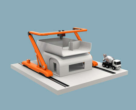 Industrial 3D printer printing house. Clipping path available.