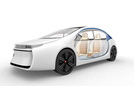 car isolated: Exterior of autonomous electric car isolated on white background. Clipping path available. Stock Photo