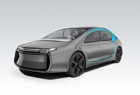 灰色の背景に分離された自律型の電気自動車の陥クリッピング パスは利用できます。オリジナルのデザイン。