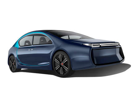Exterior of autonomous electric car isolated on white background. Clipping path available. Stock Photo