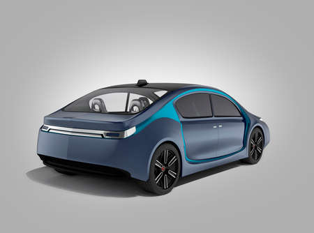 concept car: Rear view of autonomous car isolated on gray background. Clipping path available. Original design.