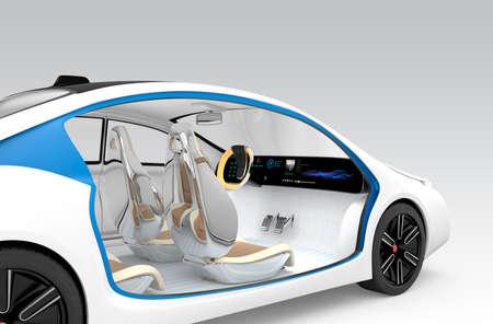 Concepto interior del coche autónomo. El volante de plegado oferta de vehículo, asiento del acompañante giratorio. Diseño original. Clipping ruta disponible. Foto de archivo