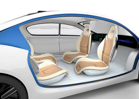 Autonomous cars interior concept. The car offer folding steering wheel, rotatable passenger seat. Original design. Clipping path available. Stock Photo