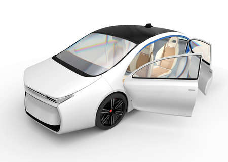 Exterior of autonomous electric car isolated on white background. Clipping path available. Original design.