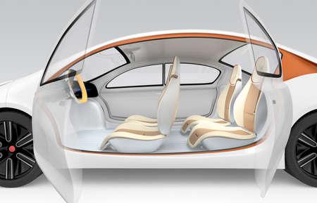 Zijaanzicht van de autonome elektrische auto. De auto aanbod opvouwbare stuurwiel, draaibare passagiersstoel. Clipping path beschikbaar.