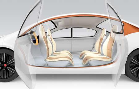 Vista lateral del coche eléctrico autónomo. El volante de plegado oferta de vehículo, asiento del acompañante giratorio. Diseño original. Clipping ruta disponible.