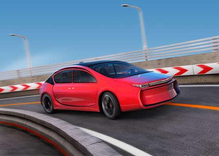 運動で高速道路に赤い電気車では、背景をぼかし。3 D レンダリング イメージ。