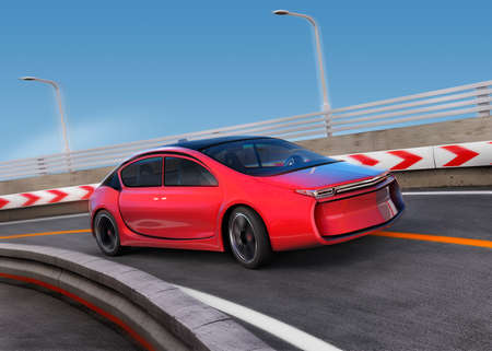 Red electric car on highway with motion blur background. 3D rendering image.