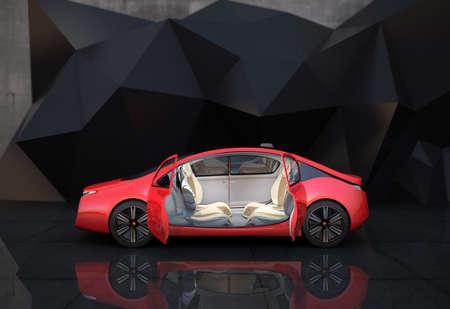 Zijaanzicht van rode zelfrijdende auto in de voorkant van geometrische object achtergrond