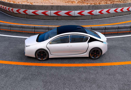 curve line: White electric car on highway. 3D rendering image.