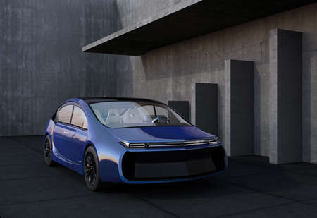 car glass: Blue electric car and concrete wall. 3D rendering image.