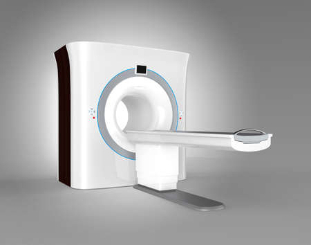 x ray equipment: MRI magnetic resonance imaging scanner isolated on gray background. Clipping path available.