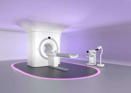 a medical examination: MRI room with seamless ceiling design, make relax mood to reduce patients  stress. Original design.