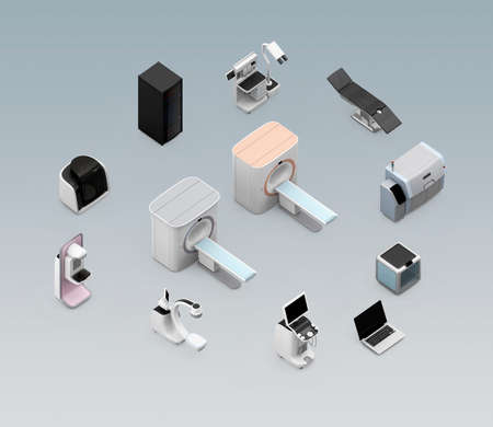 x ray equipment: Network of professional medical imaging system concept. Stock Photo