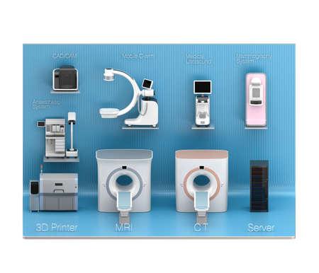 medical imaging: Medical imaging system displaying blue exhibition stage. Concept for medical digital workflow solution