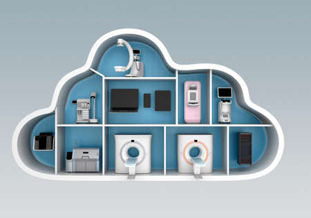Medical imaging system and PACS server, 3D printer in cloud shape container. Concept for medical cloud service. Stock Photo