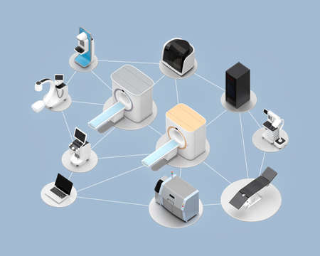 x ray equipment: Network of professional medical imaging system concept. Clipping path available.