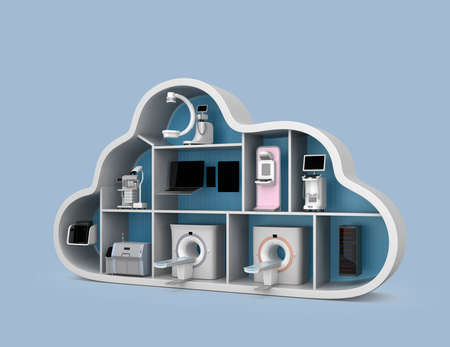 mammography: Medical imaging system and PACS server, 3D printer in cloud shape container. Concept for medical cloud service. Stock Photo