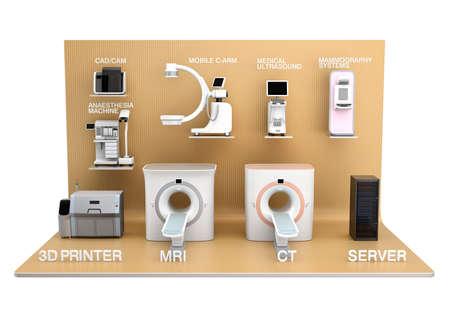 medical imaging: Medical imaging system on light golden color exhibition stage. Concept for medical digital workflow solution Stock Photo