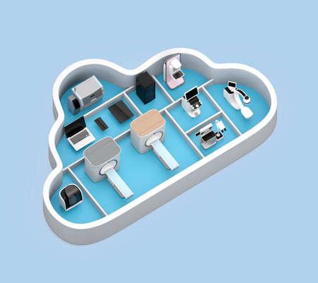 医療画像システムと PACS サーバー、クラウド形コンテナーで 3 D プリンター。医療クラウド サービスのコンセプトです。