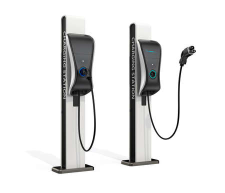 Electric vehicle charging station for public usage. Clipping path available.