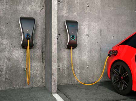 Electric vehicle charging station for home. 版權商用圖片 - 53665987