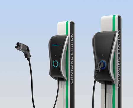 plug: Electric vehicle charging station for public usage. Clipping path available.