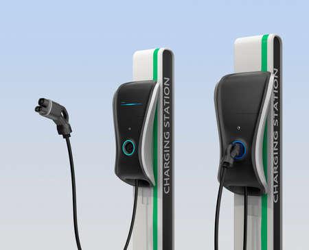 enchufe: estación de carga de vehículos eléctricos para el uso público. Clipping ruta disponible. Foto de archivo