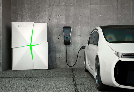 Electric vehicle charging station for home. Powered by battery system. Stockfoto