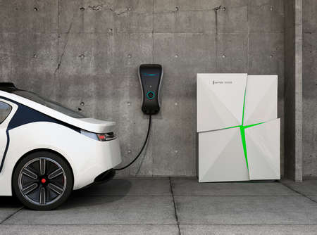 Electric vehicle charging station for home. Powered by battery system. Banco de Imagens