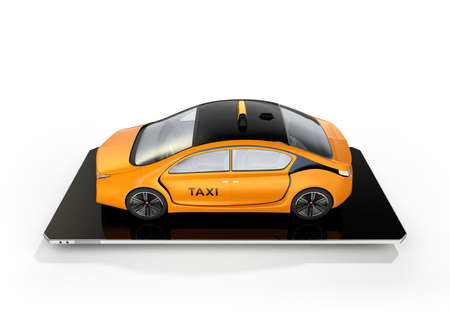 Yellow electric taxi on smart phone. Concept for mobile taxi order service.