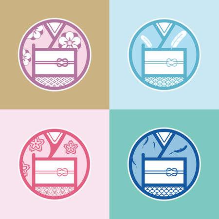 japanese kimono: Series icons of Japanese kimono