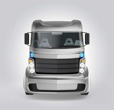 Front view of hybrid electric truck isolated on gray background. Clipping path available.