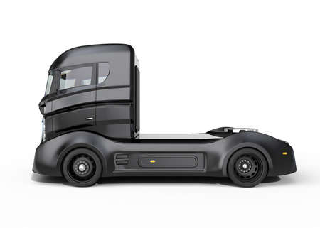 autonomous: Side view of black hybrid electric truck isolated on white background. Clipping path available. Stock Photo
