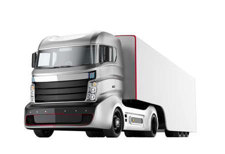 autonomous: Autonomous hybrid truck isolated on white background. 3D rendering image with clipping path. Original design.